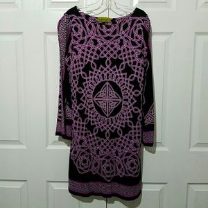 Nicole Miller Studio One L/S Geometric Dress Sz M